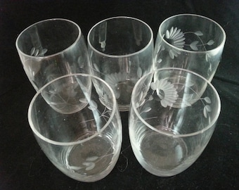 Crystal juice glasses with etched flowers