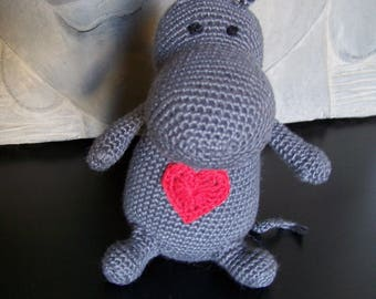 Plush Hippo with a heart crocheted