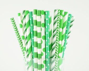 Green Paper Straw Mix - Party Decor Supply - Cake Pop Sticks - Party Favor