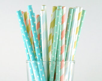 Dots And Striped Mix Paper Straws - Party Decor Supply - Cake Pop Sticks - Party Favor