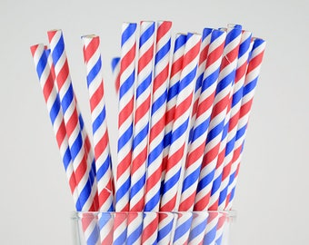 Blue/Red/White Striped Paper Straws - Party Decor Supply - Cake Pop Sticks - Party Favor