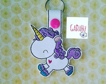 Unicorn with Heart Key Fob Snap Tab Embroidery Design 4X4 size