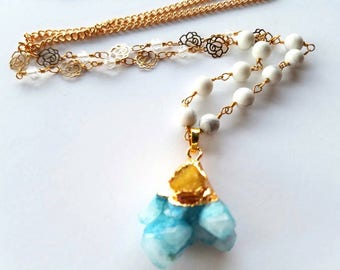 Crystal Necklace, druzy pendant, stone necklace, Geode Necklace, druzy jewelry, gemstone necklace, gold necklace, gold druzy necklace