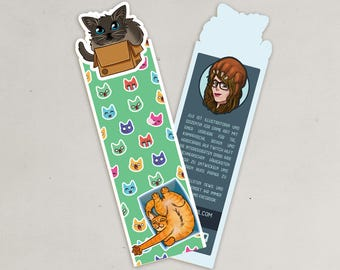Cut out bookmark cats in boxes
