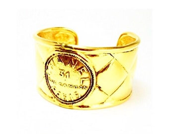 Authentic Vintage Chanel Gold Plated Rue Cambon Cuff Bracelet