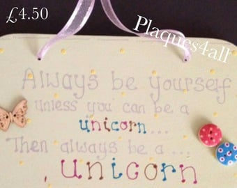 UNICORN wooden plaque sign magical saying mystical new quote range plaques handmade new gift