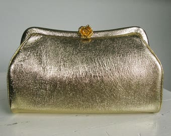 Vintage Gold Admiral Evening Clutch with Chain 60s