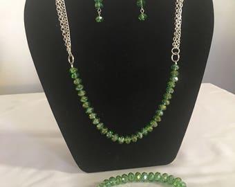 Green crystal necklace bracelet earrings set