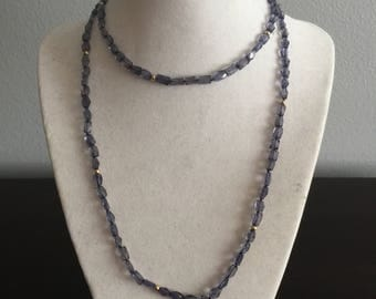 Iolite gemstone and gold bead Necklace