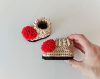 Red pom pom booties