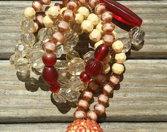 Orange and brown crystal necklace