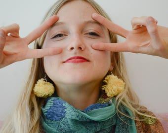 Yellow Yarn Pom Pom Earrings