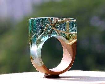 Gift wooden rings Band unique gift Girl rings promise Resin gift for wife Jewelry wood resin Ring nature Gift rings green Anniversary wooden