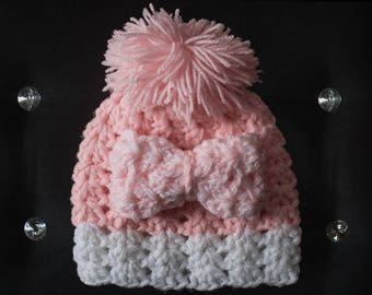 Cozy Soft Pink and White Baby Girl Crochet Hat, Baby Toddler Crochet Hat with Bow and Pompom