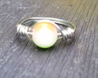 Tri colored ring with silver band