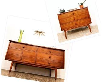 1959 Mid Century Modern Rosewood 6 Drawer Dresser Set By Lane Furniture,  Brass Pulls,