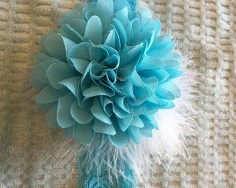 Toddler/Child Turquoise Lace Headband with Flower embellished with white boa