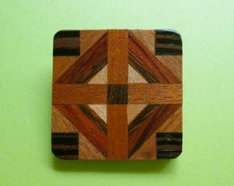 Vintage Wooden Inlaid Pin - Patchwork Quilt Design