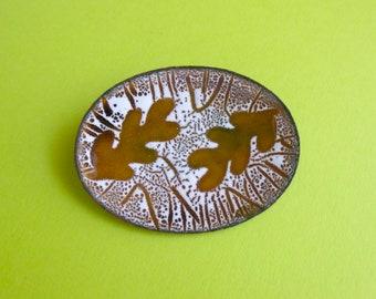 Mid Century Artisan Enamel Pin - Leaf Design - Vintage Brooch