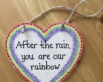 Rainbow Baby Wooden Heart Signs