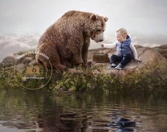 Friendly Bear Digital Background, Bear Digital Backdrop, Bear Stock, Bear Cutout, Bear Overlay, Bear Background, Sky, Rocks, Fish, Lake