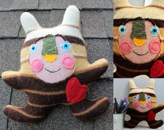 Pixell - wool handmade stuffed toy from recycled sweater