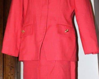 Orange/ salmon  1980's 2 piece skirt set