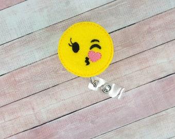 Kiss Emoji Badge Reel - Emoji Kiss - Badge Reel - Feltie Badge Reel- Retractable ID Badge Holder - Badge Pull