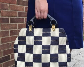 White and Blue Chess Raffia Bag Made in Italy
