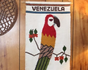 VINTAGE Venezuela Wall Tapestry // Vintage Wall Hanging // Parrot Wall Hanging
