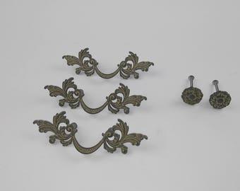Vintage french ornate drawer handles & knobs set