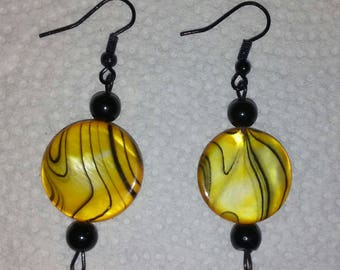 Yellow and Black Glass Circle Bead Earrings with Black Accent Beads