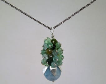 Silver, green tourmaline and aquamarine cluster pendant