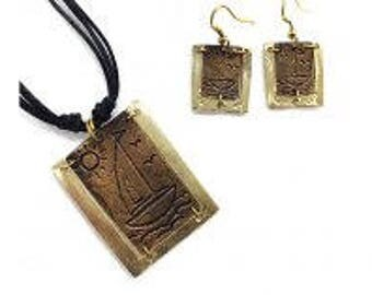 Pewter Necklace and Earrings Set - Sailboat, mixed metal jewelry