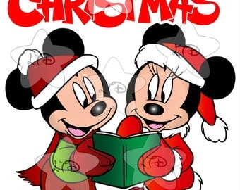 Mickey and Minnie Christmas Caroling Iron On Transfer