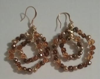 Brown Chip Double Concentric Circle Earrings (#147)