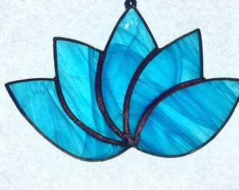 Stained Glass Blue Lotus Flower Suncatcher