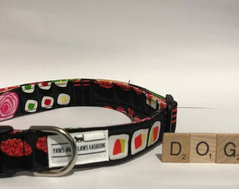Dog/Puppy collar with sushi pattern - extra small, small, medium, large, extra large - FREE SHIPPING