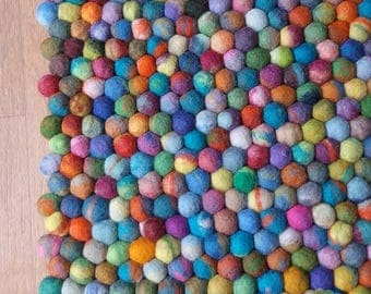 Rectangle Felt Ball Rug. Multicolored Rug, Pom pom Pebble Rug.  100 % Wool Carpet (Free Shipping)