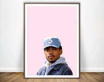Chance the Rapper Print Art Hip Hop Print Hip Hop Decor Rap Print Chance the Rapper Poster Hip Hop Wall Art Celebrity Portrait HipHop Poster