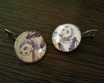"Personal illustration ""Mermaid"" earrings"