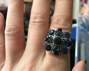 Blue cluster gems ring