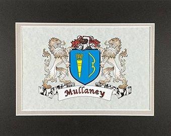 "Mullaney Irish Coat of Arms Print - Frameable 9"" x 12"""
