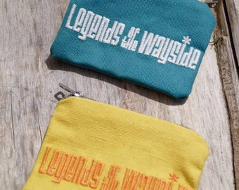 Original logo Legends Of The Wayside, embroidered coin purse/wallet, organic cotton with metal zip