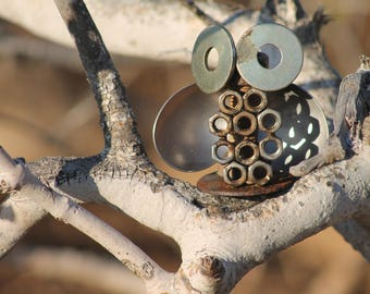 recycled scrap metal art small owl