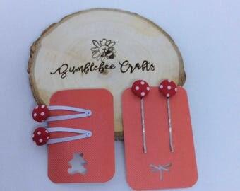 Red Polka Dot Hair pin and Clip set - set of 4