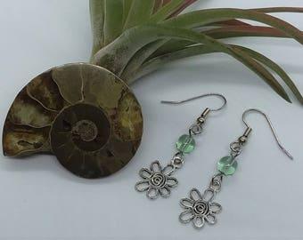 Light Green Flower Earrings (Pierced or Clip-On)