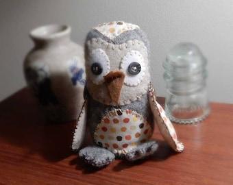 Felted wool owl, handmade soft sculpture decoration