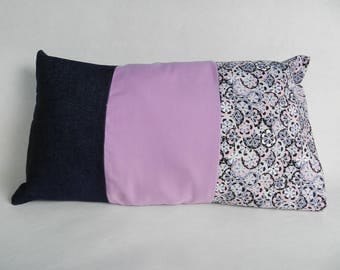 Geometric, plain fabrics patchwork and denim pillow