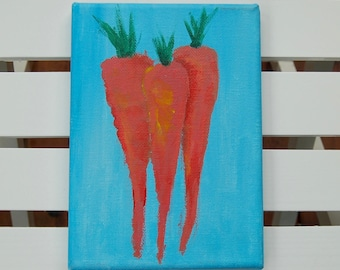 Carrot painting, Carrots, Acrylic carrot painting, Kitchen art, Vegetable art, Orange and blue carrot painting